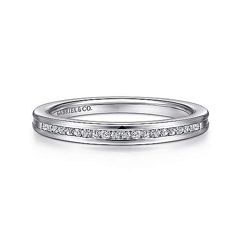 14k White Gold Channel Set Band