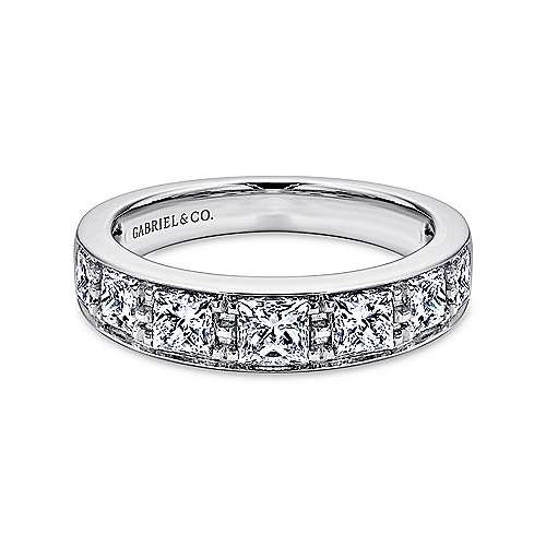Gabriel - 14k White Gold Channel Set Princess Cut 7 Stone Diamond Anniversary Band