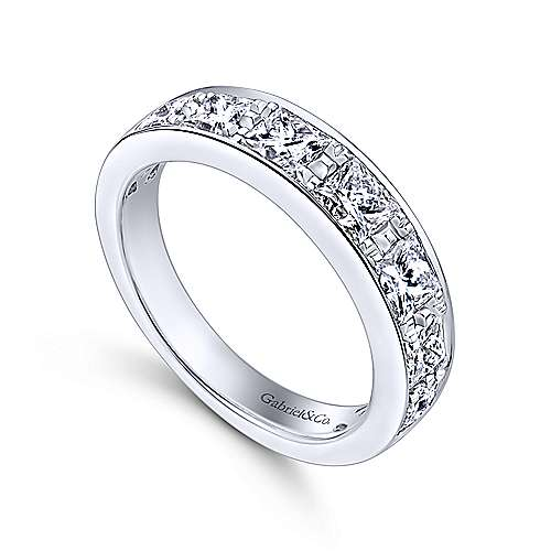14k White Gold Channel Set Princess Cut 7 Stone Diamond Anniversary Band angle 3