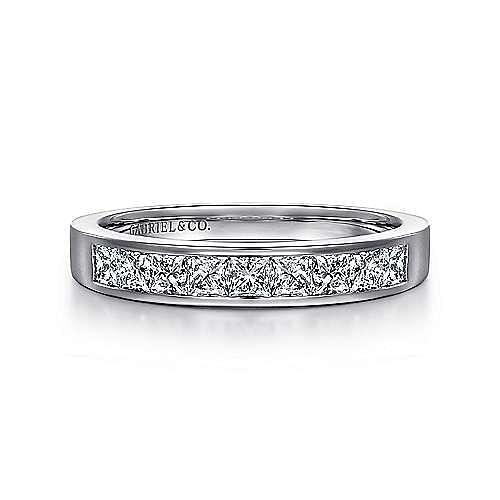 14k White Gold Channel Set Princess Cut 9 Stone Diamond Anniversary Band angle 1