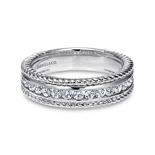 Gabriel - 14k White Gold Channel Set Rope Frame Diamond Band