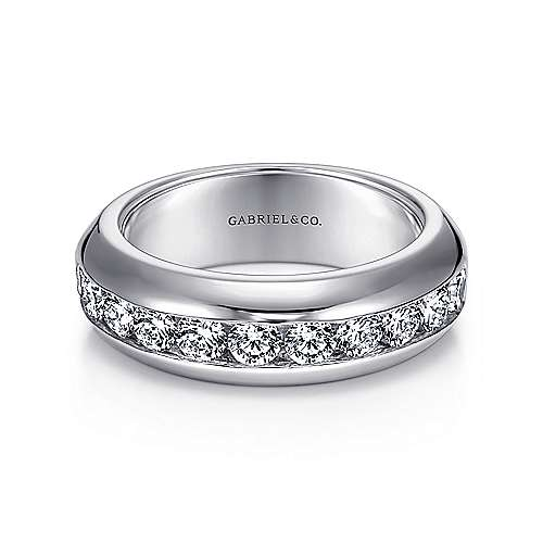 Gabriel - 14k White Gold Channel Set Round 11 Stone Diamond Anniversary Band