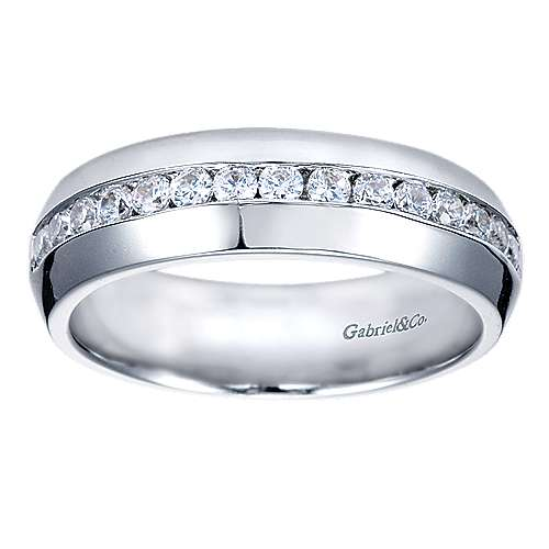 14k White Gold Channel Set Round 15 Stone Diamond Anniversary Band