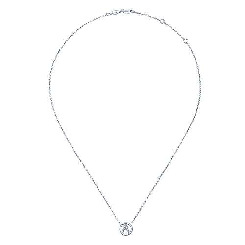 14k White Gold Circle Inscribed Uppercase A Diamond Initial Necklace
