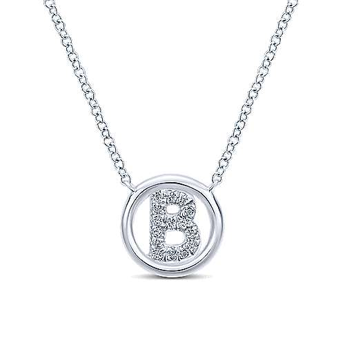 14k White Gold Circle Inscribed Uppercase B Diamond Initial Necklace