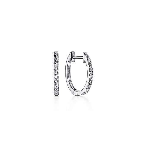 14k White Gold Classic 10mm Pave Diamond Huggie Earrings