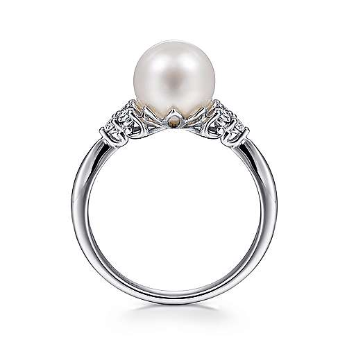 14k White Gold Classic Cultured Pearl & Diamond Fashion Ring