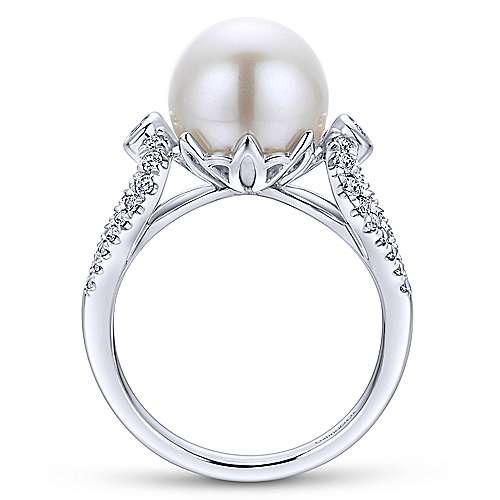 14k White Gold Classic Cultured Pearl & Diamond Ladies Ring