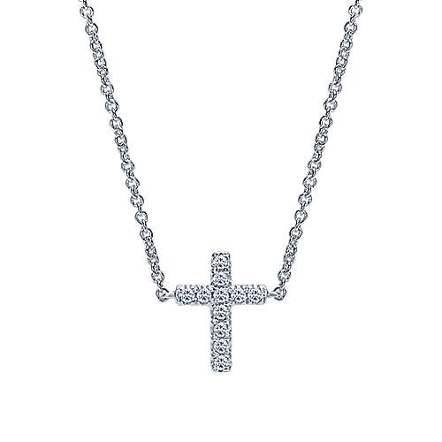 Gabriel - 14k White Gold Classic Diamond Cross Necklace