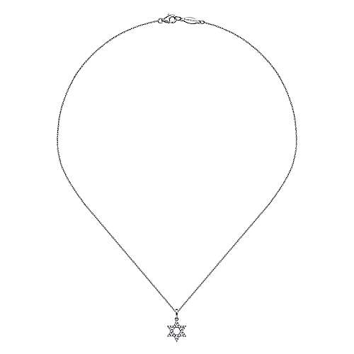 14k White Gold Classic Diamond Star of David Necklace