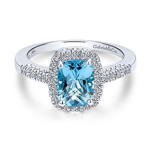 Gabriel - 14k White Gold Classic Swiss Blue Topaz Fashion Ring