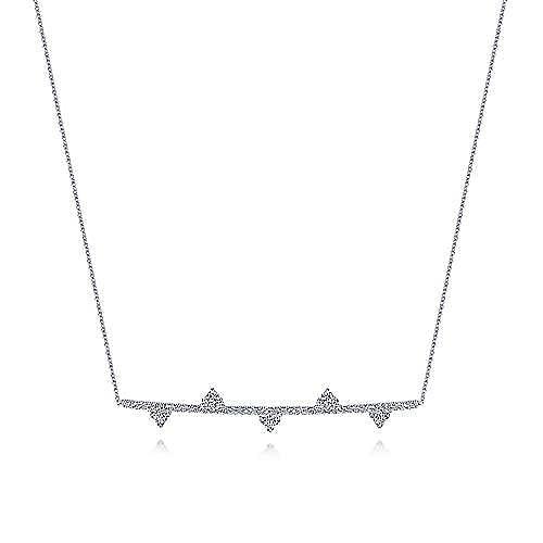 14k White Gold Cluster Adorned Diamond Bar Necklace