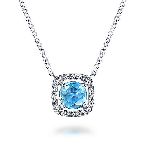 14k White Gold Color Solitaire Fashion Necklace