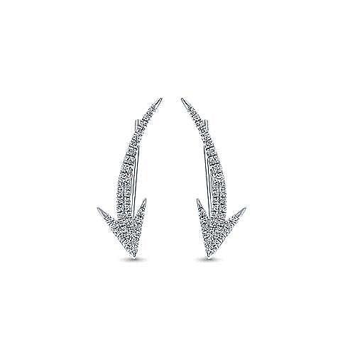 14k White Gold Comets Ear Climber Earrings angle 1
