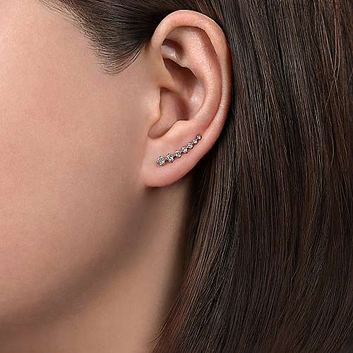 14k White Gold Comets Ear Climber Earrings angle 2