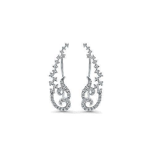 14k White Gold Comets Earcuffs Earrings angle 1