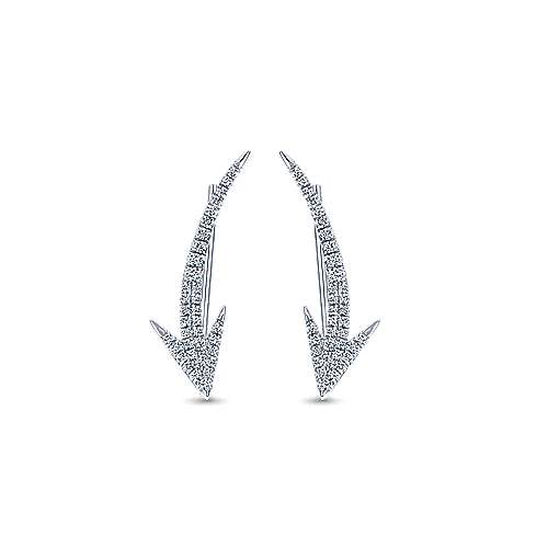 14k White Gold Comets Earcuffs Earrings angle 1