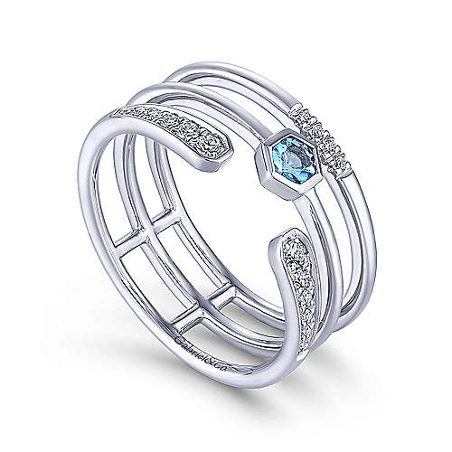 14k White Gold Constellations Fashion Ladies' Ring angle 3