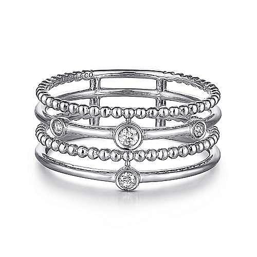 Gabriel - 14k White Gold Constellations Fashion Ladies Ring