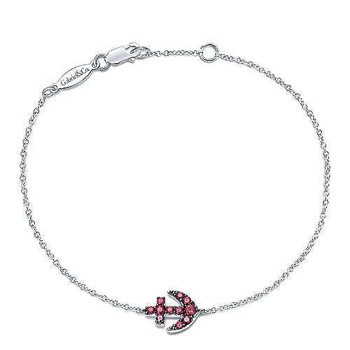 14k White Gold Contemporary Anchor Bracelet