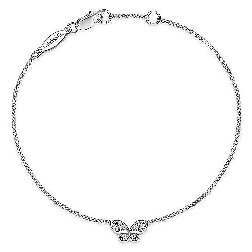 14k White Gold Contemporary Butterfly Bracelet