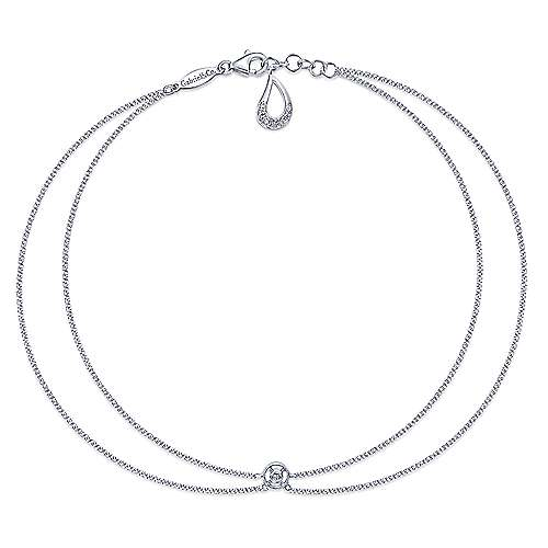 14k White Gold Contemporary Chain Ankle Bracelet