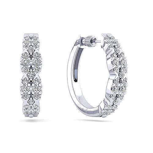 Gabriel - 14k White Gold Contemporary Classic Hoop Earrings