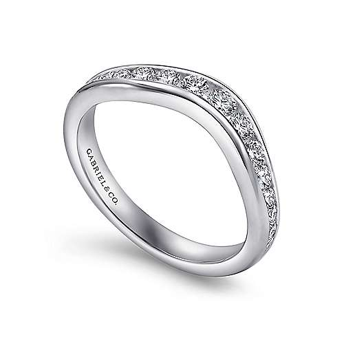 14k White Gold Contemporary Curved Anniversary Band angle 3