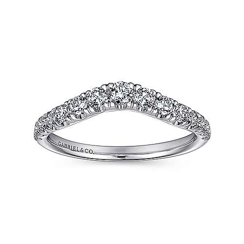 14k White Gold Contemporary Curved Anniversary Band angle 4