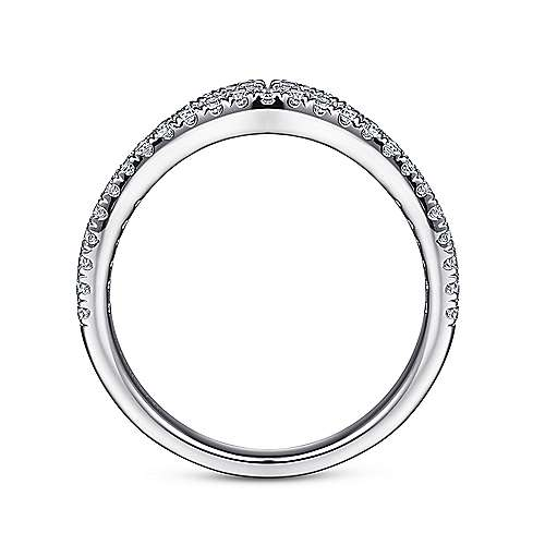 14k White Gold Contemporary Curved Anniversary Band angle 2