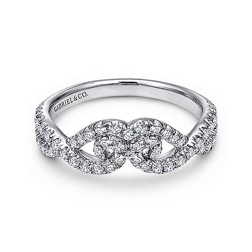14k White Gold Contemporary Curved Anniversary Band angle 1