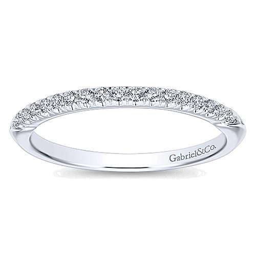 14k White Gold Contemporary Curved Wedding Band angle 5