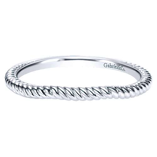 14k White Gold Contemporary Curved Wedding Band angle 1