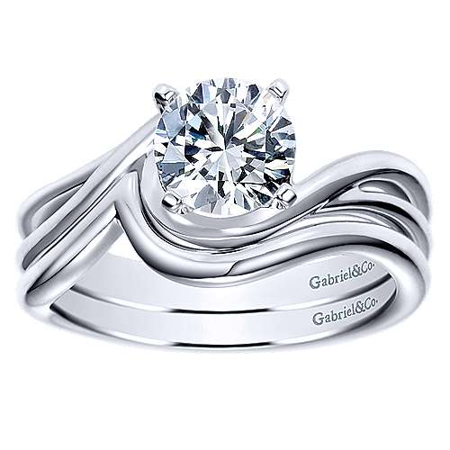 14k White Gold Contemporary Curved Wedding Band angle 4