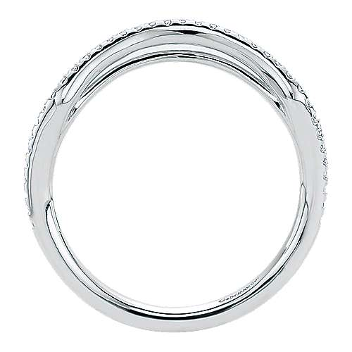 14k White Gold Contemporary Curved Wedding Band angle 2