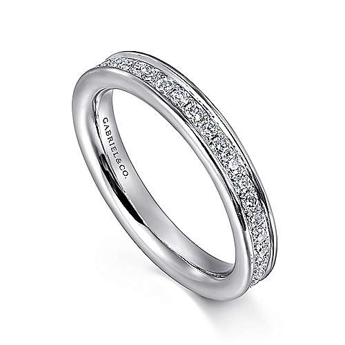 14k White Gold Contemporary Eternity Anniversary Band angle 3