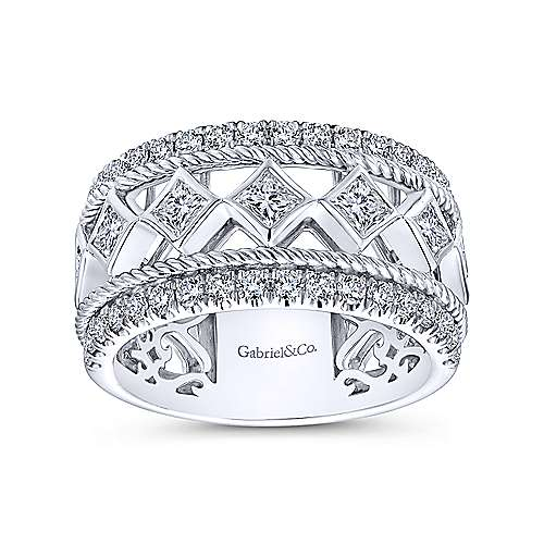 14k White Gold Contemporary Fancy Anniversary Band angle 4