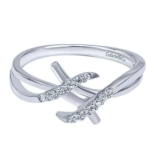 Gabriel - 14k White Gold Contemporary Fashion Ladies' Ring