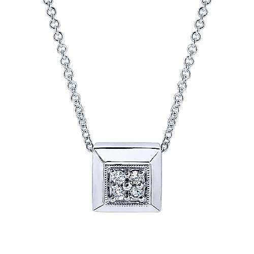 14k White Gold Contemporary Fashion Necklace angle 1
