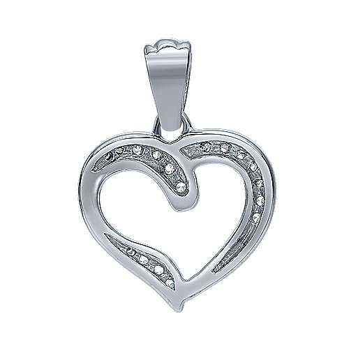 14k White Gold Contemporary Heart Heart Pendant angle 2
