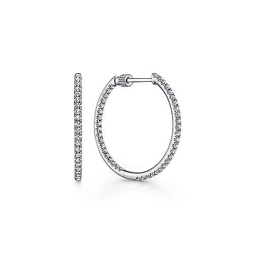 Gabriel - 14k White Gold Contemporary Inside Out Diamond Hoop Earrings
