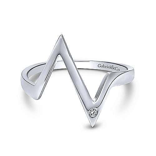 14k White Gold Contemporary Midi Ladies Ring