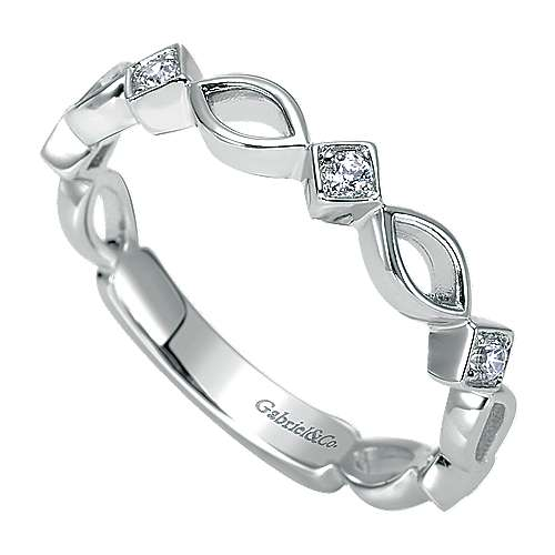 14k White Gold Contemporary Stackable Anniversary Band angle 3