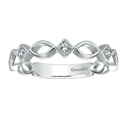 14k White Gold Contemporary Stackable Anniversary Band angle 5