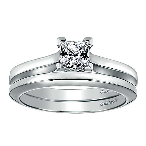 14k White Gold Contemporary Straight Wedding Band angle 4