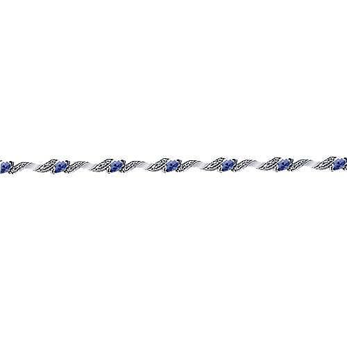 14k White Gold Contemporary Tennis Bracelet angle 2