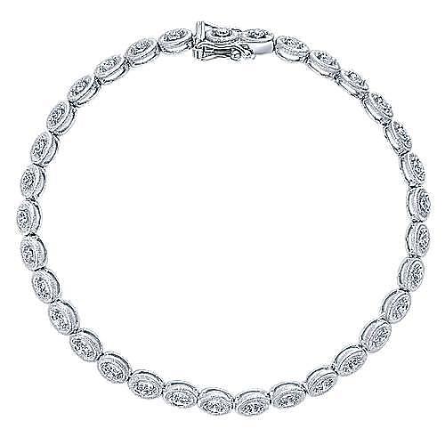 14k White Gold Contemporary Tennis Bracelet angle 1