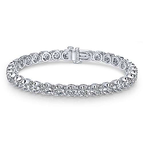 Gabriel - 14k White Gold Contemporary Tennis Bracelet