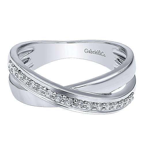 14k White Gold Contemporary Twisted Ladies' Ring angle 1