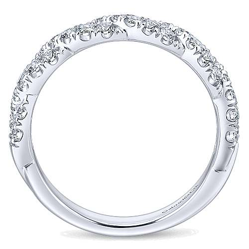 14k White Gold Contemporary Twisted Wedding Band angle 2